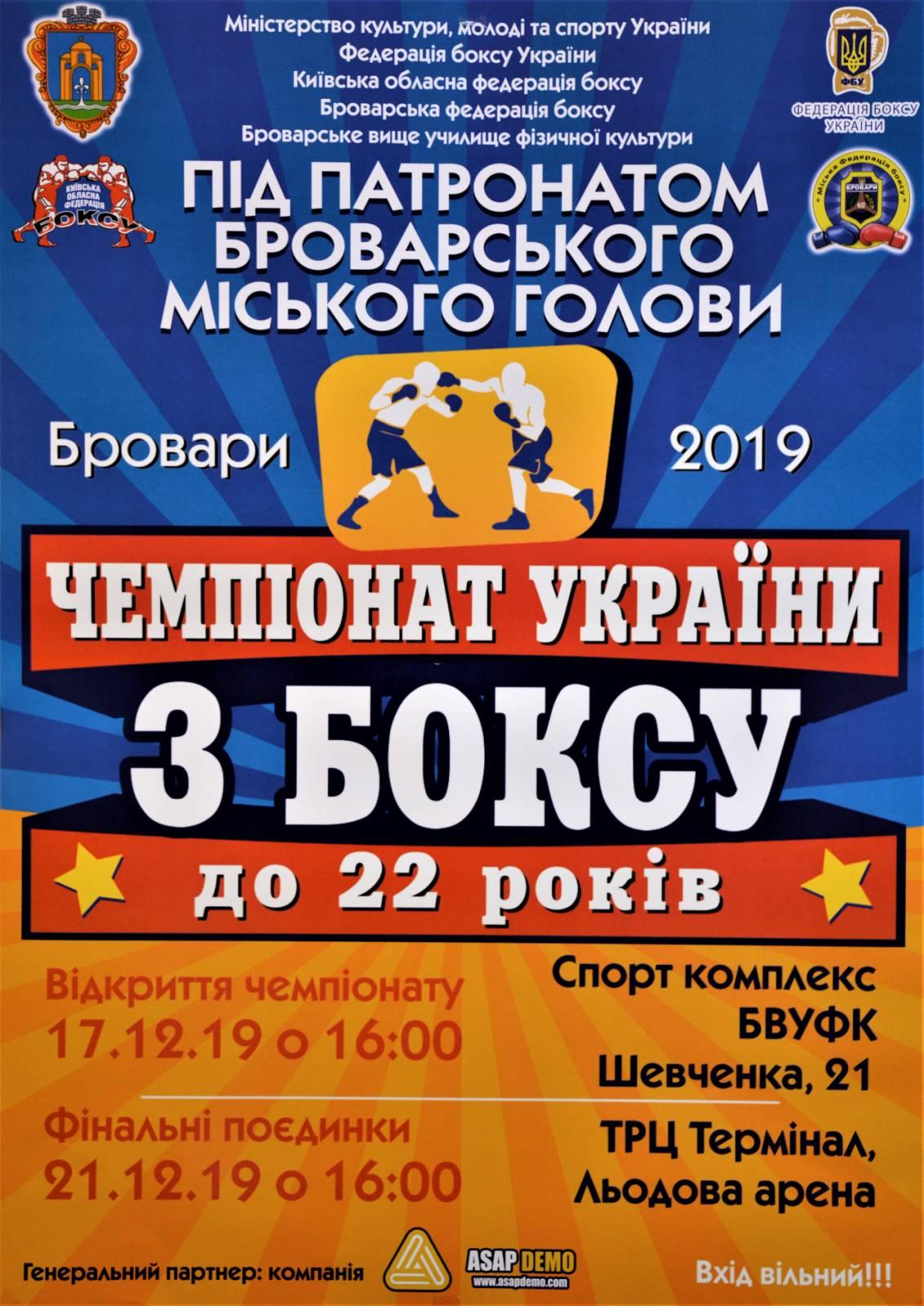 Чемпіонат України з боксу до 22 років. Афіша